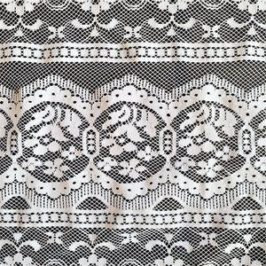 Vintage Lace White Window Curtain w Floral Pattern